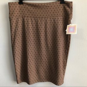 NWT LuLaRoe Cassie brown square polka dot 2XL.
